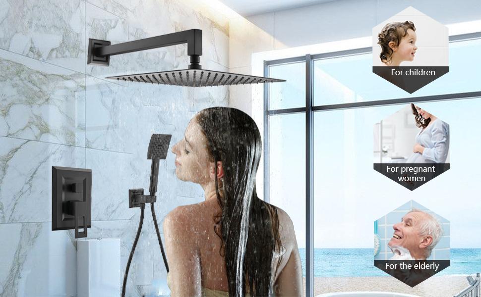 Matte black bathroom rainfall shower mixer system