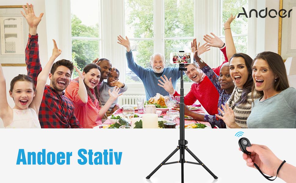 Andoer Handy Stativ 150cm Leichtgewicht Wireless Selfie-Stange mit Bluetooth-Fernbedienung