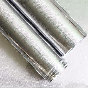 Fantasnight Vinilo Adhesivo Papel Adhesivo para Muebles 40 /× 300 cm Aspecto de Metal Plateado Cepillado