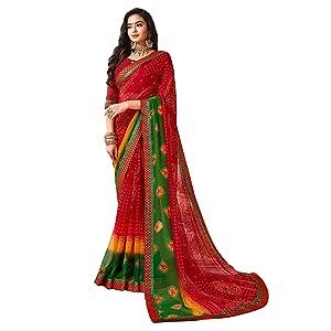 Sanskar Resham Ki Dor Bandhani Printed Georgette Saree (Red & Green)