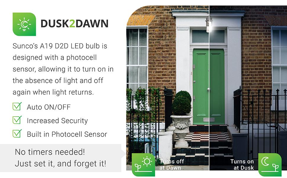 A19 LED Bulb with Dusk-to-Dawn, 800 LM, Auto On/Off Photocell Sensor - UL