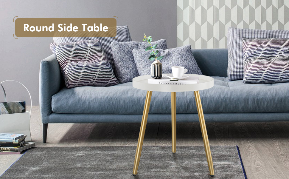 Round Side Table, Wooden Tray Table with Metal Tripod Stand, 3 Gold Legged White Table