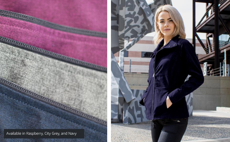 raspberry city grey navy blue jacket outdoors