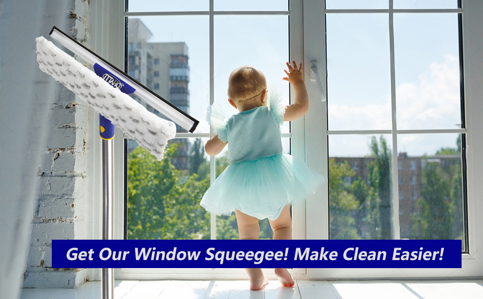 squeegee window cleaner with long stainless steel extension pole 2-in-1 creative swivel style ITTAHO