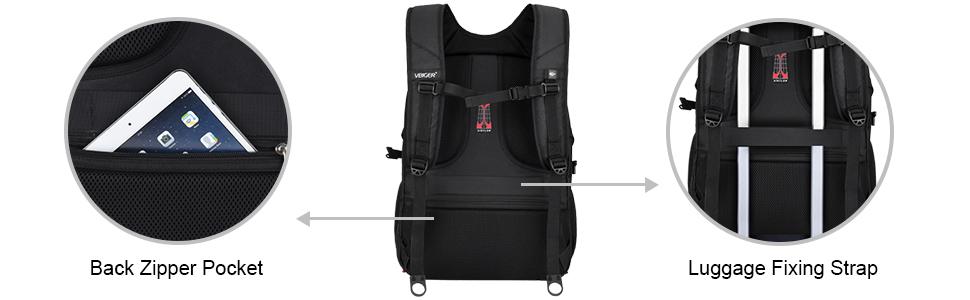 Back Zipper Pocket Luggage Fixing Strap
