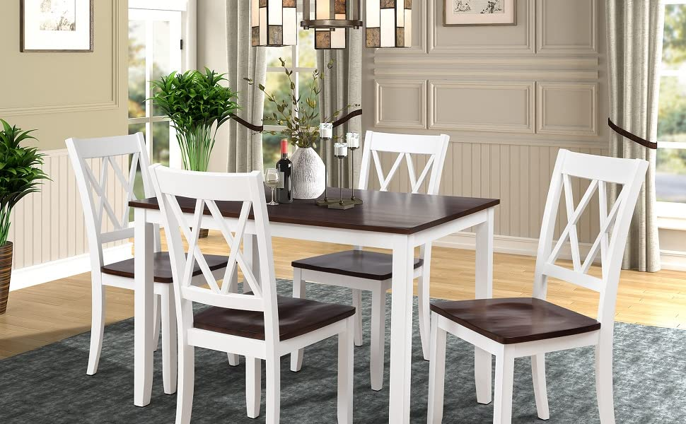 Amazon Com Merax Dining Table Set Kitchen Dining Table Set For 4
