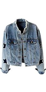 Star Embroidered Pearl Denim Jacket