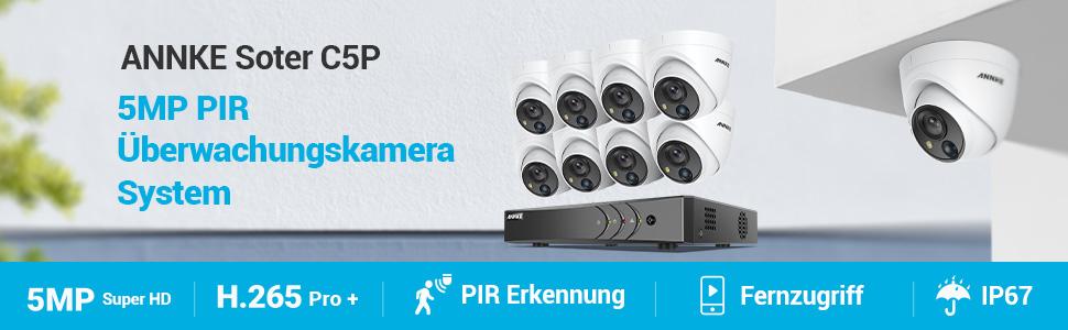 Annke 8ch 5mp Überwachungskamera Set System H 265 Pro Dvr 2tb Hdd Mit 8 Wetterfest 5 0megapixel Pir Outdoor Ip67 Dome Kamera Visueller Alarm 30m Exir Nachtsicht Überwachungssystem Baumarkt