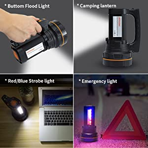 Bright led  Spotlight Flashlight Searchlight handheld  high lumens Rechargeable