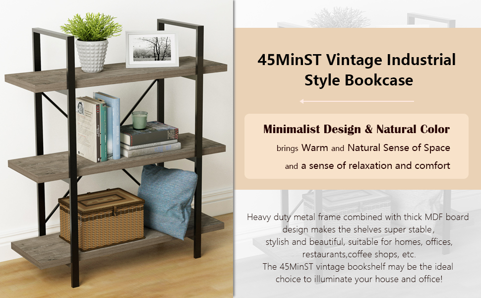 45MinST 3-Tier Vintage Industrial Style Bookcase,Gray Oak, 3/4/5 Tier