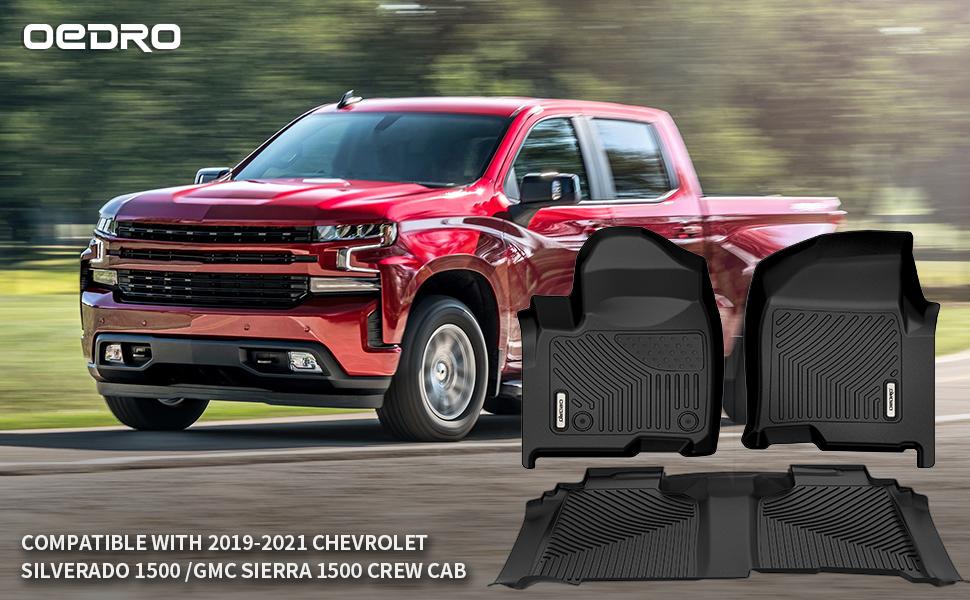oEdRo Floor Mats fit for 2019-2020 Chevrolet Silverado 1500/GMC Sierra/Sierra Denali 1500 Crew Cab