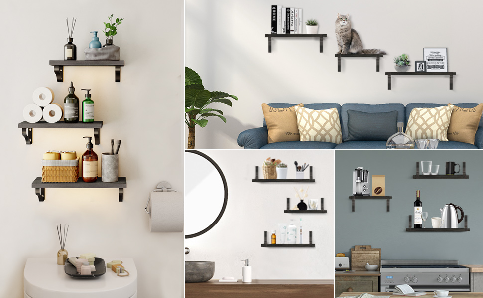 floating shelves for wall, wall shelf for kitchen, floating shelves set, floating shelves bathroom