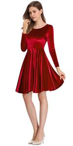 women velvet long sleeve a-line swing eleglant skater mini dress