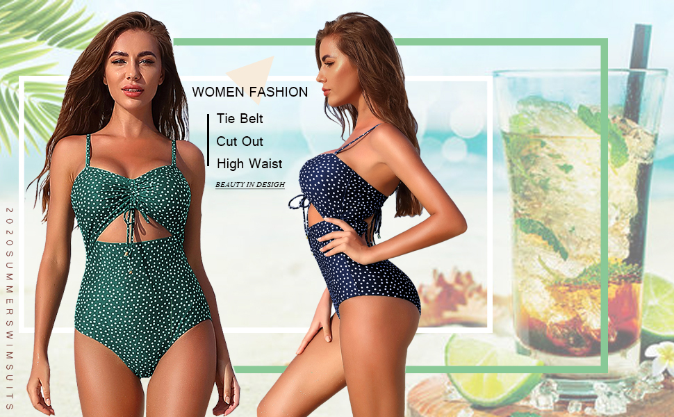 Womens Belt High Waisted Bow Monokini Padded Swimwear Swimsuit Bikini One Piece