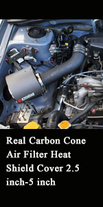 Real Carbon Cone Air Filter Heat Shield Cover 2.5 inch-5 inch