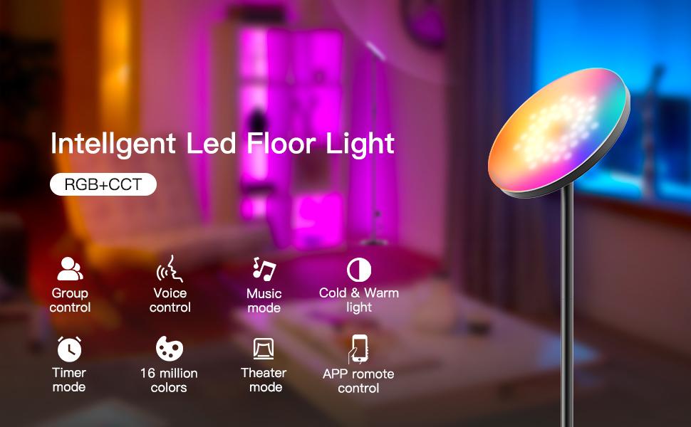 RGB CCT Intellgent LED Floor Lamp Appilation Display