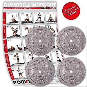 POWRX Discos hierro fundido 20 kg set (4 x 5 kg) - Pesas ...