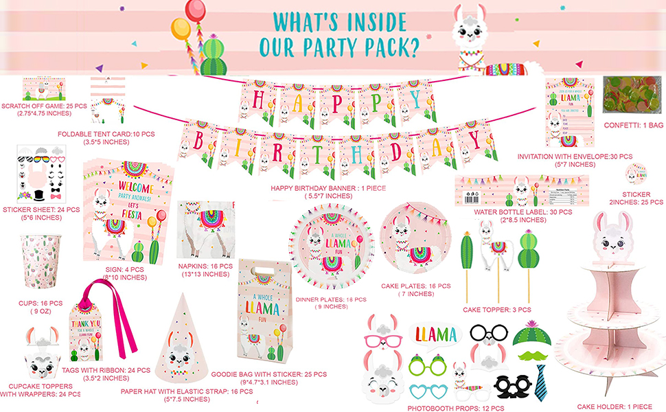 llama birthday party supplies, llama gifts for girls, llama decor, llama gifts