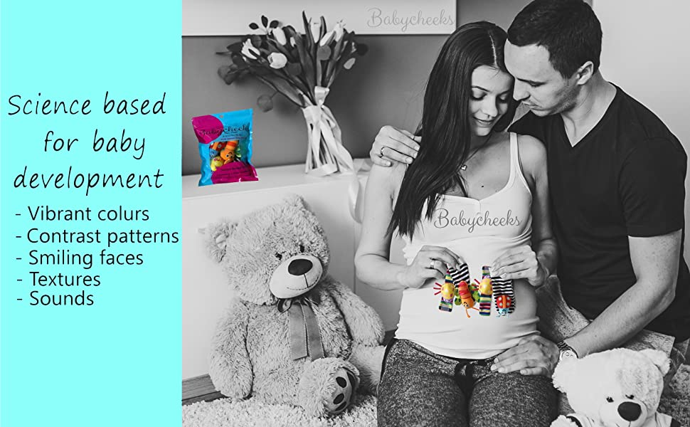 Pregnant couple holding babycheeks product over pregnant belly