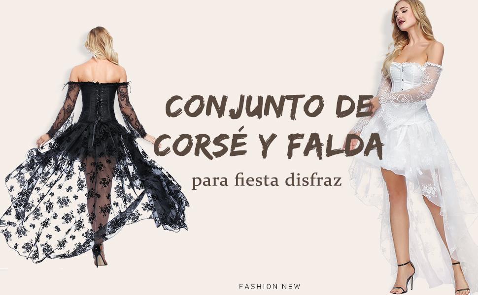 FeelinGirl Mujer Conjunto de Corsé Gótico Fiesta Corset Hueso ...