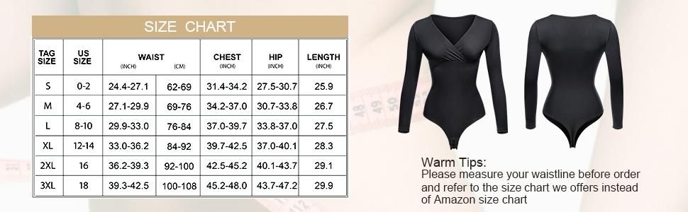 Deep V Neck Bodysuit Long Sleeve Tops for Women Body Shaper Thong Tummy Control Waist Trainer