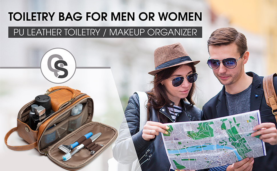 toiletry bag brown leather travel camping camp tsa flight bag luggage dopp kit men women cosmetic