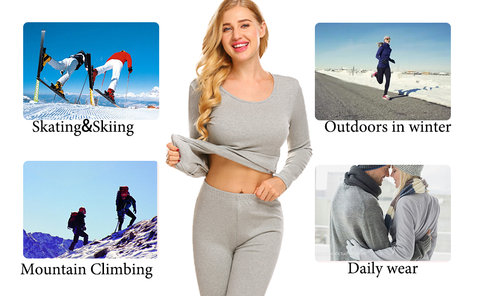 Ekouaer Women Long Johns Ultra Soft Thermal Underwear Fleece Lined Winter Base Layering Set S-XXL