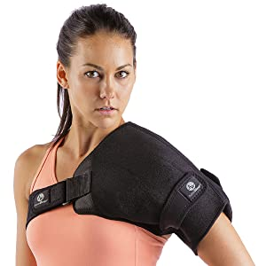 shoulder compression support wrap with hot cold therapy pack