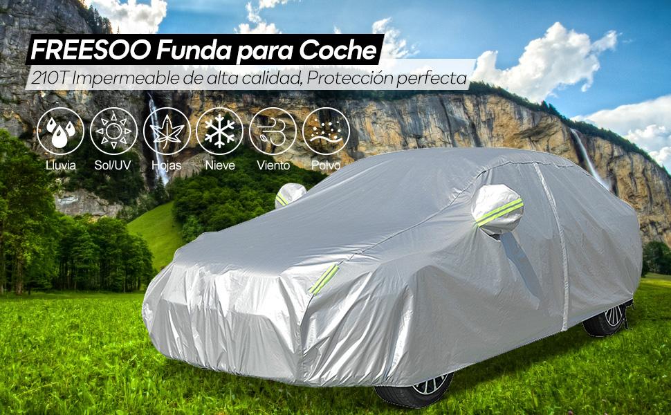 FREESOO Funda para Coche Exterior 210T Impermeable Funda de Coche Cubierta Exterior con Cremallera Raya Reflectante contra Sol Nieve Polvo Viento Universal