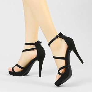 Allegra K women's lace-up platform stiletto sandals