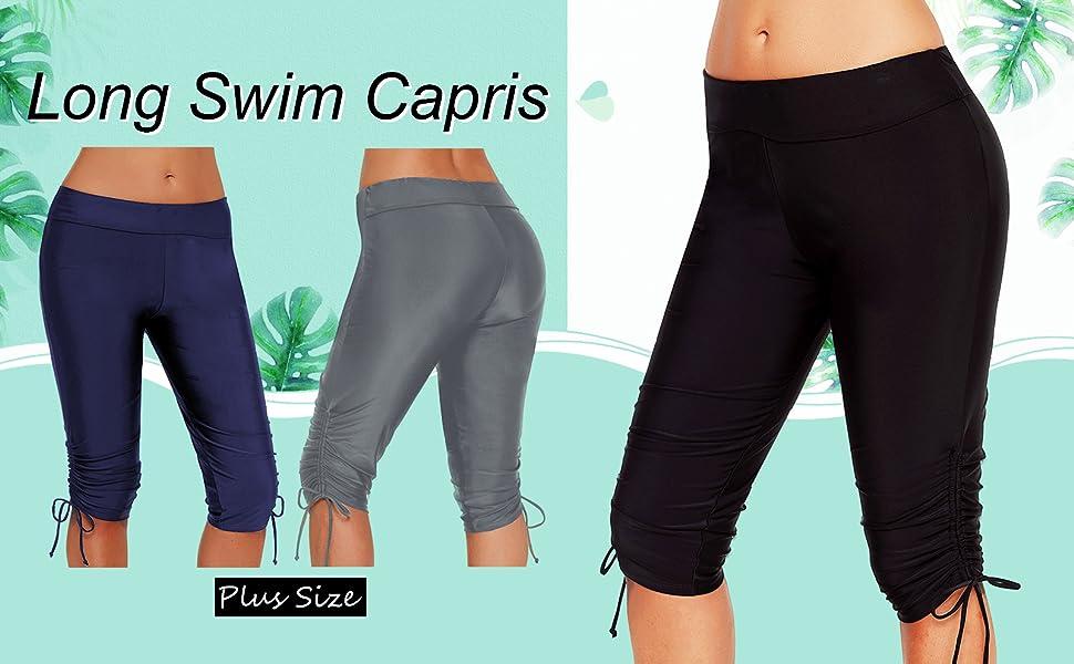 Urchics Womens Plus Size Rash Guard Capris Long Swim Shorts Tankini Bottom XXXL