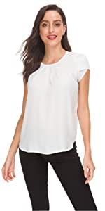 Women's Casual Pleated Petal Cap Sleeve Round Neck Keyhole Blouse Top