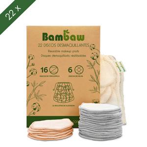 Pack 22 Discos Bambaw Discos Desmaquillantes Reutilizables con dos bolsitas de algod/ón para lavarlos