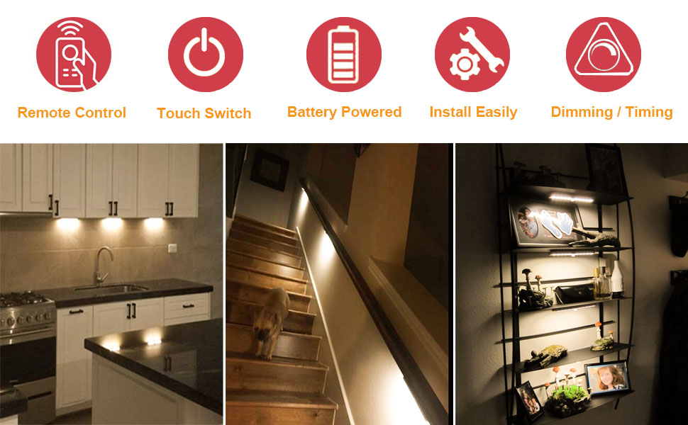 Lights For Under Kitchen Cabinets Battery Operated Anbock Under CabiLighting Remote Control Wireless LED Closets