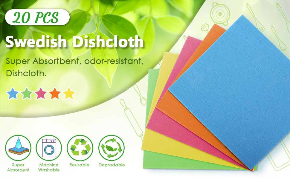 JOYXEON 20 Pcs Swedish Dishcloth. They are super Absorbent,Machine Washable,Reusable.