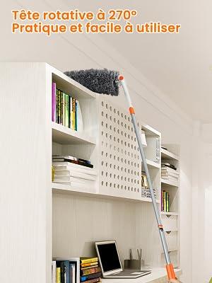 Plume extensible le bureau Nettoyage flexible et lavable D/époussi/érage chenille avec t/ête t/élescopique en microfibre la voiture rose Extra long pour la maison ventilateur de plafond
