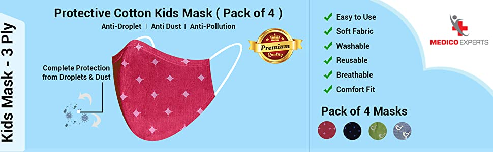 MEDICO EXPERTS Kids Mask for Boys, Girls Cotton Face Masks 3 PLY Washable Reusable 3 - 10 Year