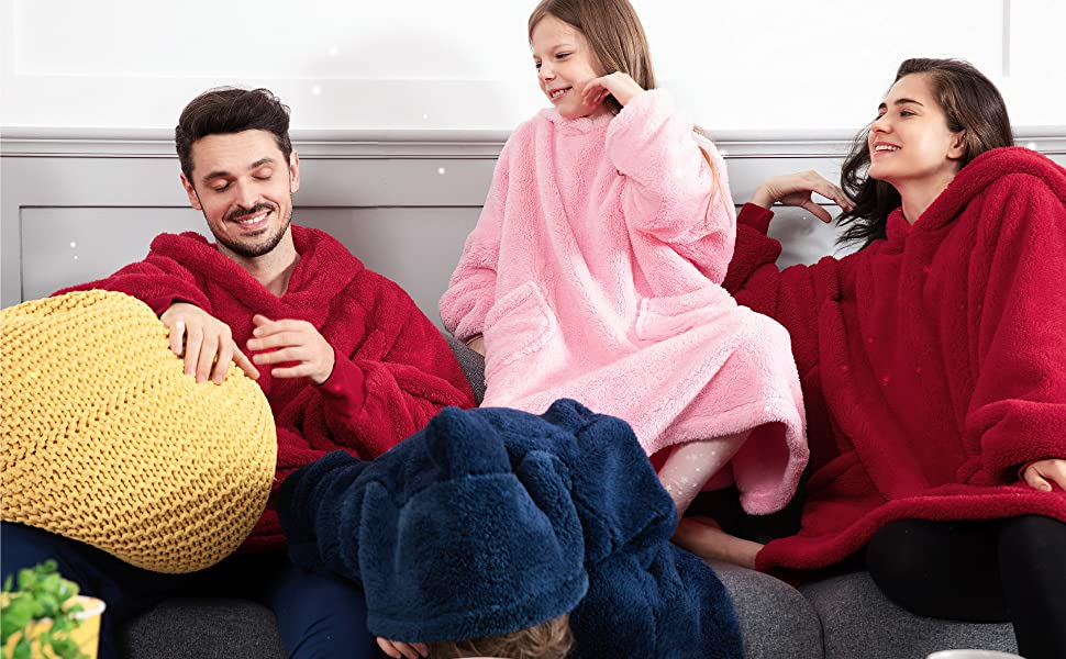 Get cozy with Bedsure Wearable Blanket,Velveteen Blanket Hoodie