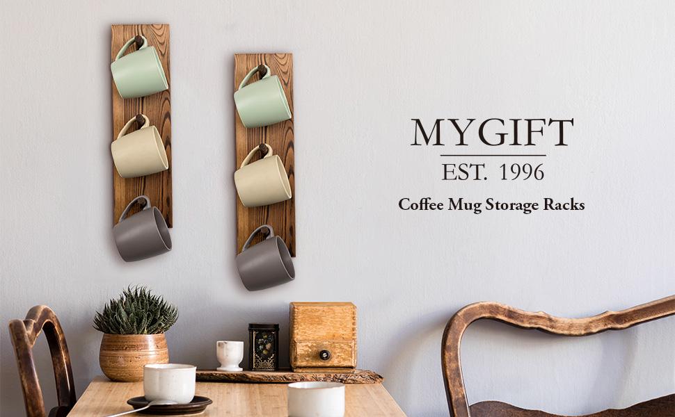 3-Hook Wall Mounted Rustic Burnt Solid Wood Mug Hanging Storage Rack, Set of 2