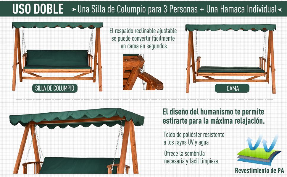 Balancín Silla y Cama de Jardin Terraza Columpio con Respaldo Ajustable 3 Personas Marco de Madera con Certificación FSC Carga Máx 400 kg 235x128x180cm Verde Oscuro: Amazon.es: Hogar