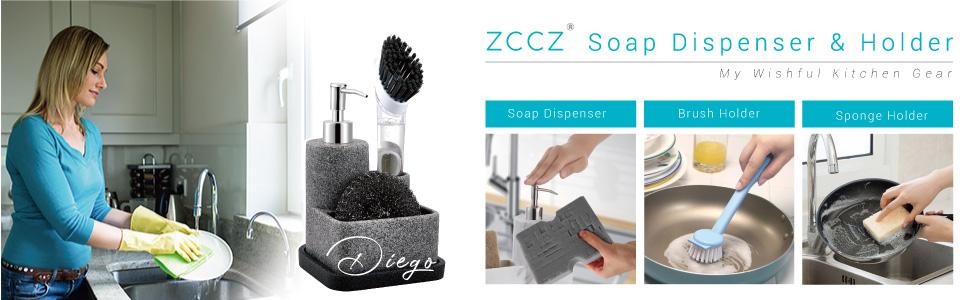 zccz Soap Dispenser with Tray/ Brush Holder/ Sponge Holder
