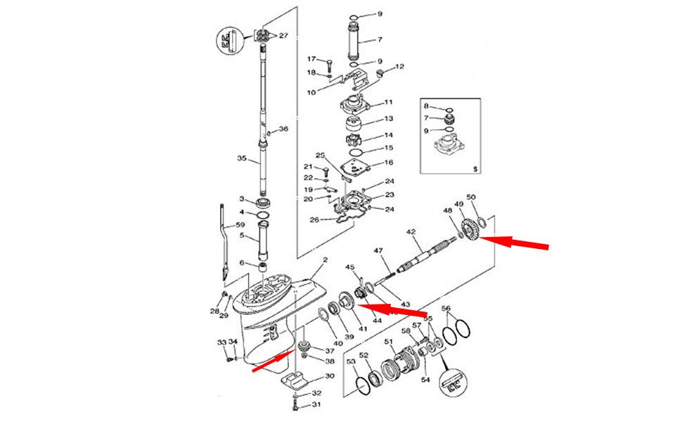 61N-45551 Pinion 61N-45571-00 Reverse 61N-45560-10 Forward Gear for Yamaha F25