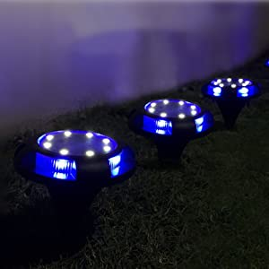 MAGGIFT Disk Lights Outdoor, 12 LED Solar Ground Light, Warm White & Blue