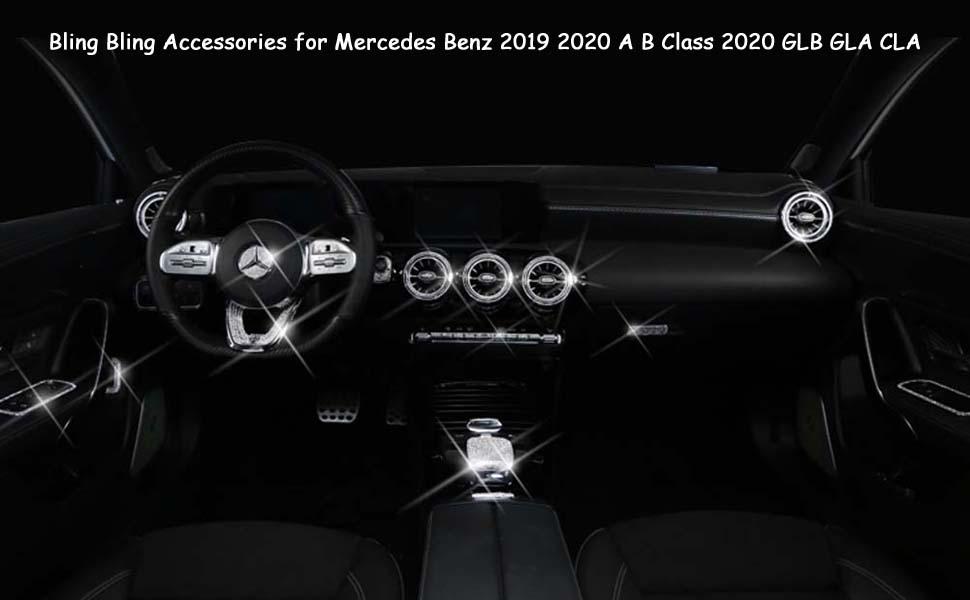 Pursuestar 4Pcs//Set Bling Bling Crystal Seat Adjustment Button Cover Car Interior Trim Sticker Decals for Mercedes Benz 2019 2020 A B Class 2020 GLB GLA CLA