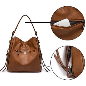 damen umhängetasche braune handtaschen vintage mit vielen fächern