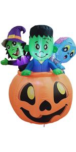 5 FT Tall Halloween Inflatable Three Characters on Pumpkin