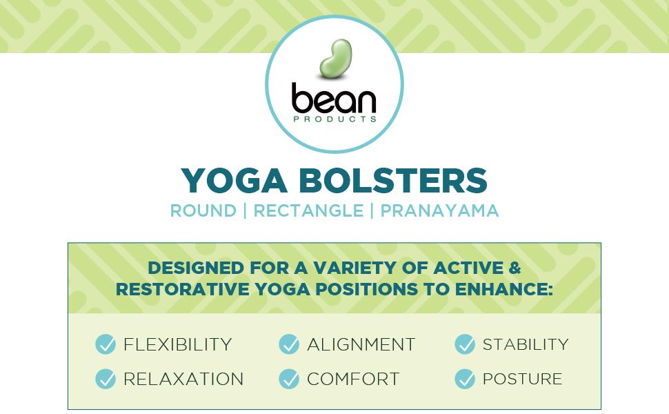 bean products yoga bolsters round rectangle pranayama