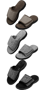 mens adjustable slippers memory foam house shoes