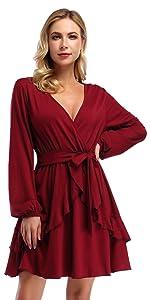 Yesfashion puff sleeve v neck ruffle mini dress