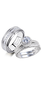 cubic zirconia bridal set engagement wedding rings for women and tungsten rings for men